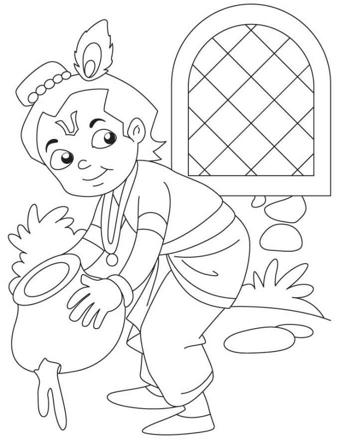 Baby Krishna coloring pages for kids  Dress up like Krishna on Krishna Janmashtami