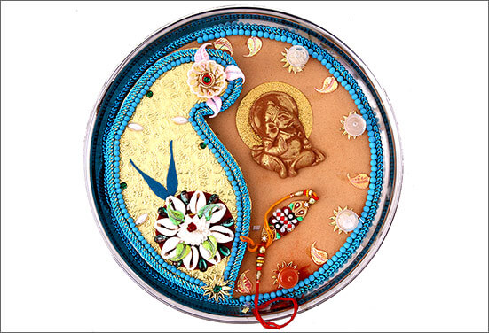 Pista laced Thali Best Ways to decorate Thali for Rakhi at Rakshabandhan