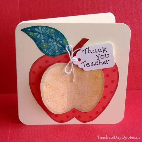 Thank you teacher apple shape paper card Awesome Teachers' Day Gift Ideas with Thank You Cards