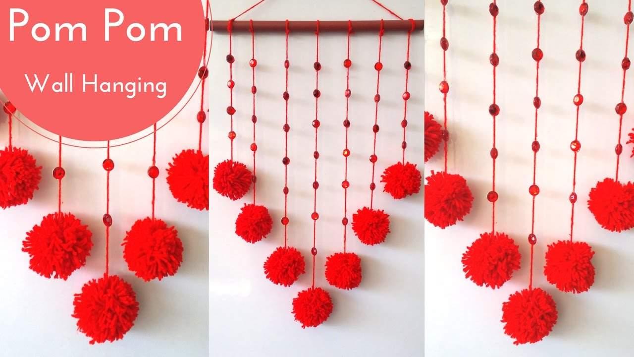 DIY: Pom Pom Wall Hanging Crafts Decoration Ideas DIY Easy Wall Hanging Craft Ideas & Tutorials