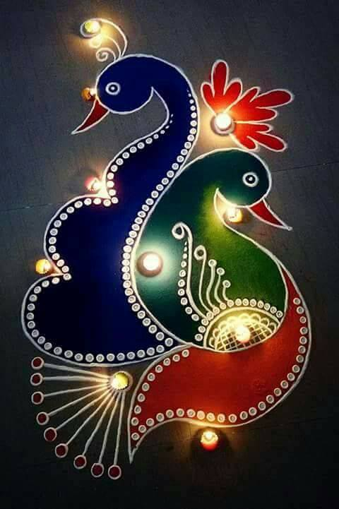 Beautiful & Simple Kolam Peacock Rangoli Designs
