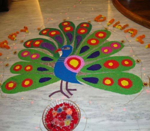 Beautiful & Simple Peacock Rangoli Designs