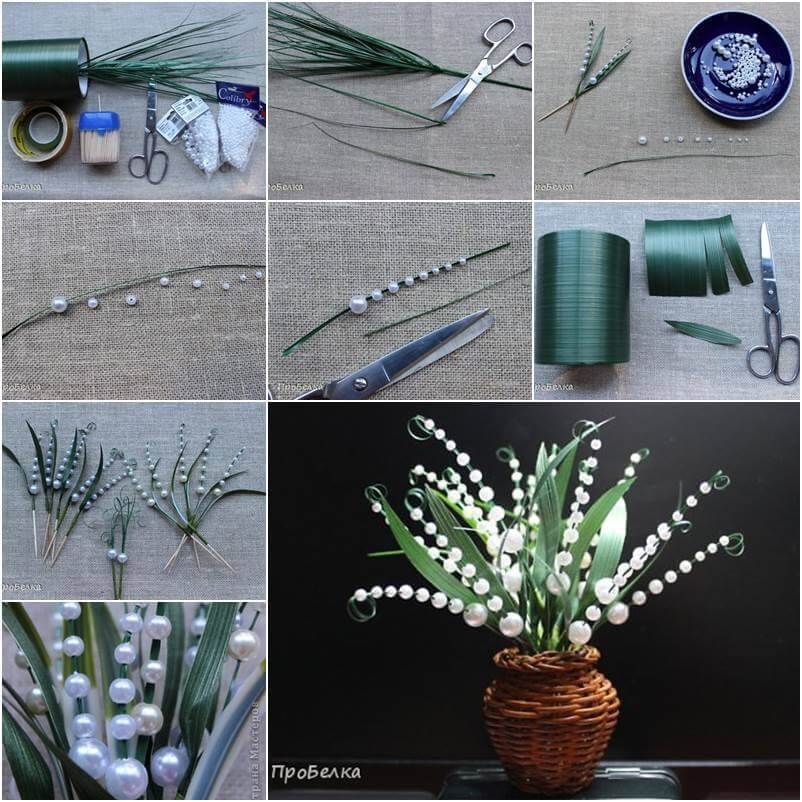Beautiful beaded lily of the valley Best out of Waste: DIY Creative Craft Ideas - Step by step