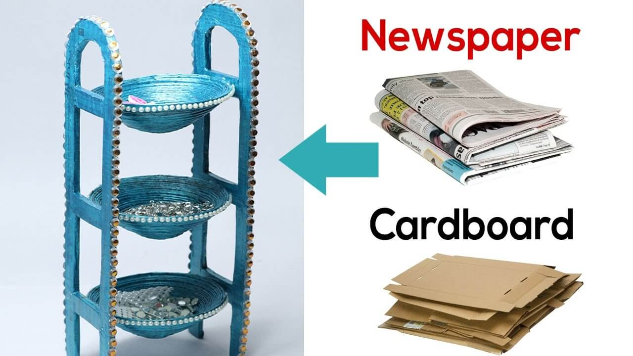 How to Make Desk Organizer with Newspaper & CardboardDIY Recycled Newspaper Craft Video Tutorials