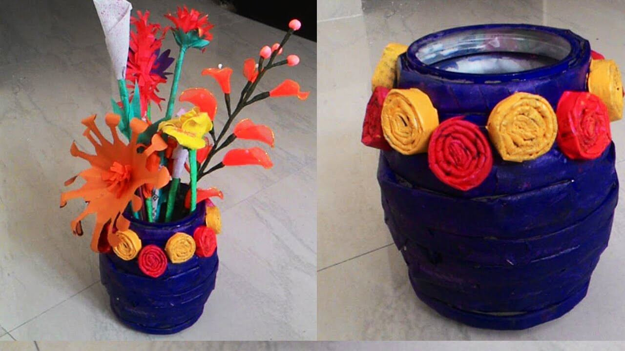 How to make Newspaper Flower Vase craft tutorial DIY Recycled Newspaper Craft Video Tutorials