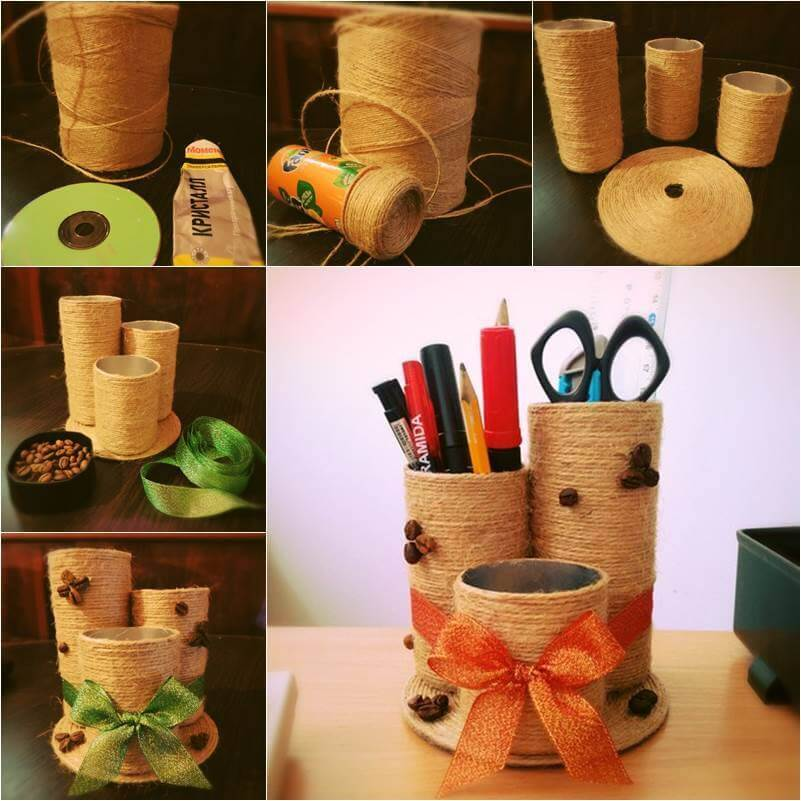 DIY Desktop organizer with some empty containers and yarn or sisal rope Best out of Waste: DIY Creative Craft Ideas - Step by step