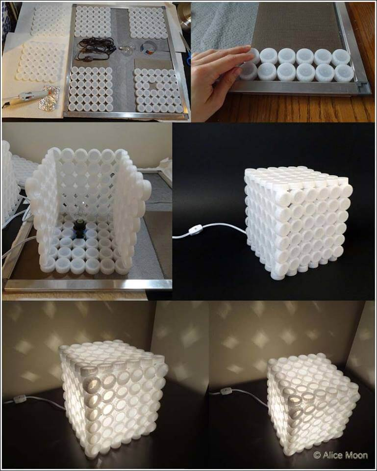 Make a unique lamp with recycled plastic bottle caps Best out of Waste: DIY Creative Craft Ideas - Step by step