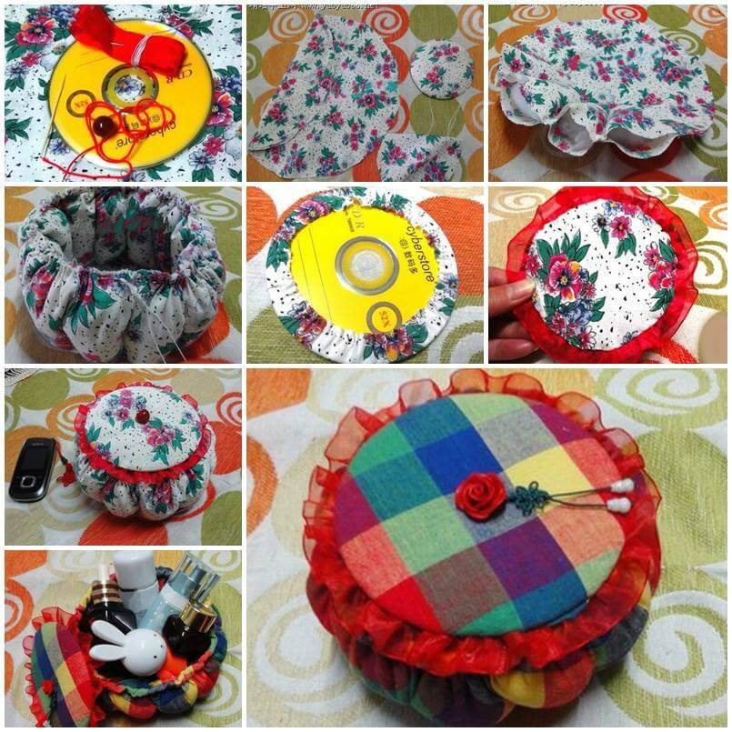 Make cute little storage basket from Recycle old CDs Best out of Waste: DIY Creative Craft Ideas - Step by step