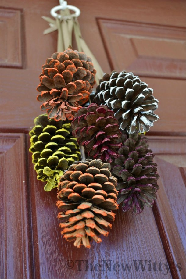 Colored Hanging Pine Cone Craft DIY Holiday Pine Cones Craft Ideas