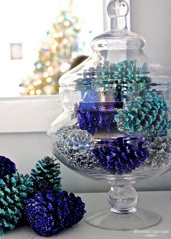 Colorful Pine Cone Table Decor DIY Holiday Pine Cones Craft Ideas