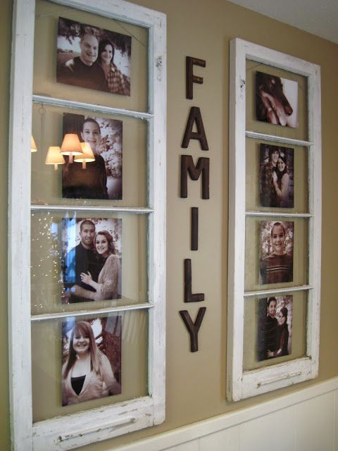 Display Family Photos Use Old Wooden Window  Easy to Make DIY Home Decorating Ideas