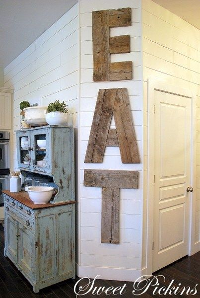 DIY EAT Letters from Reclaimed Lumber  Easy to Make DIY Home Decorating Ideas