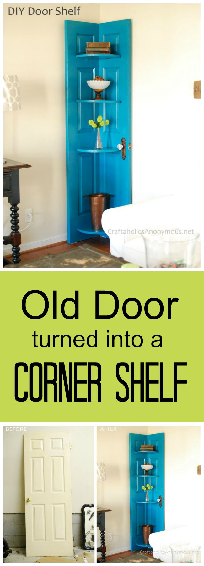 DIY Corner Shelf from an Old Door  Easy to Make DIY Home Decorating Ideas