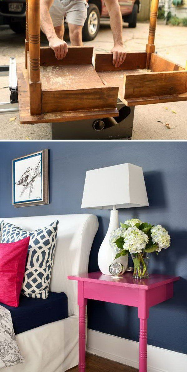 Turn an Unused Table into a Pair of Stylish and Useful Nightstands  Easy to Make DIY Home Decorating Ideas