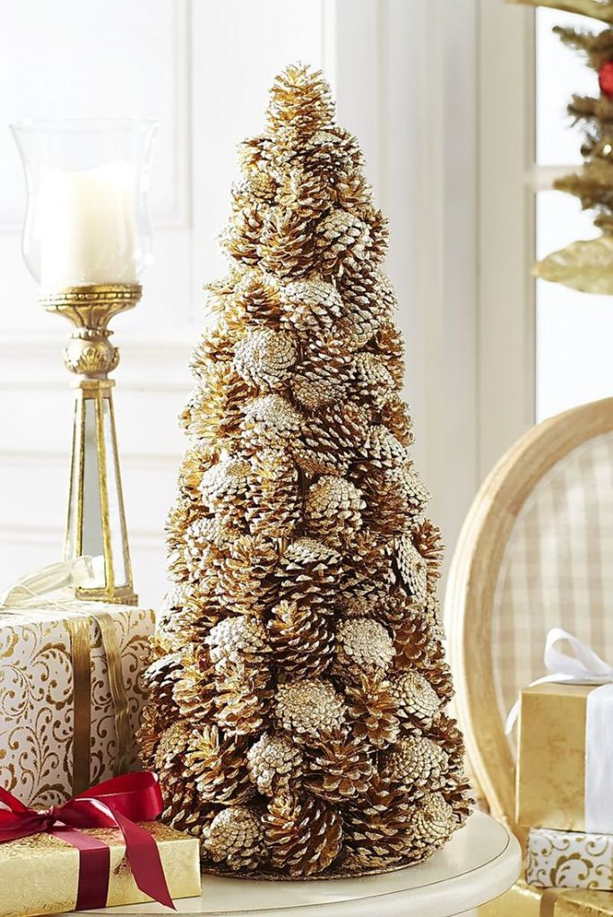 DIY Golden Pine Cone Tree DIY Holiday Pine Cones Craft Ideas