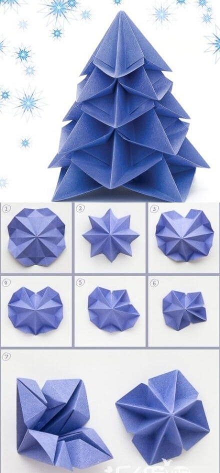 How To Make Paper Craft Origami Christmas Tree Best out of Waste: DIY Creative Craft Ideas - Step by step