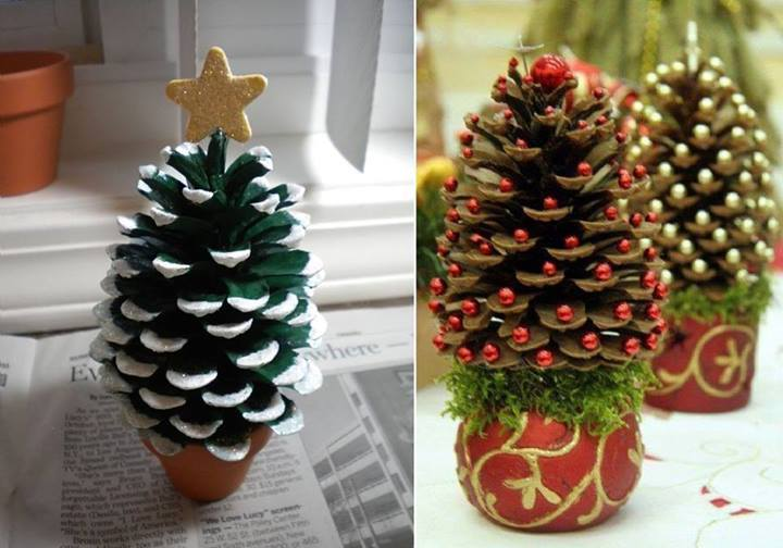 Pine cone Christmas Tree DIY Holiday Pine Cones Craft Ideas