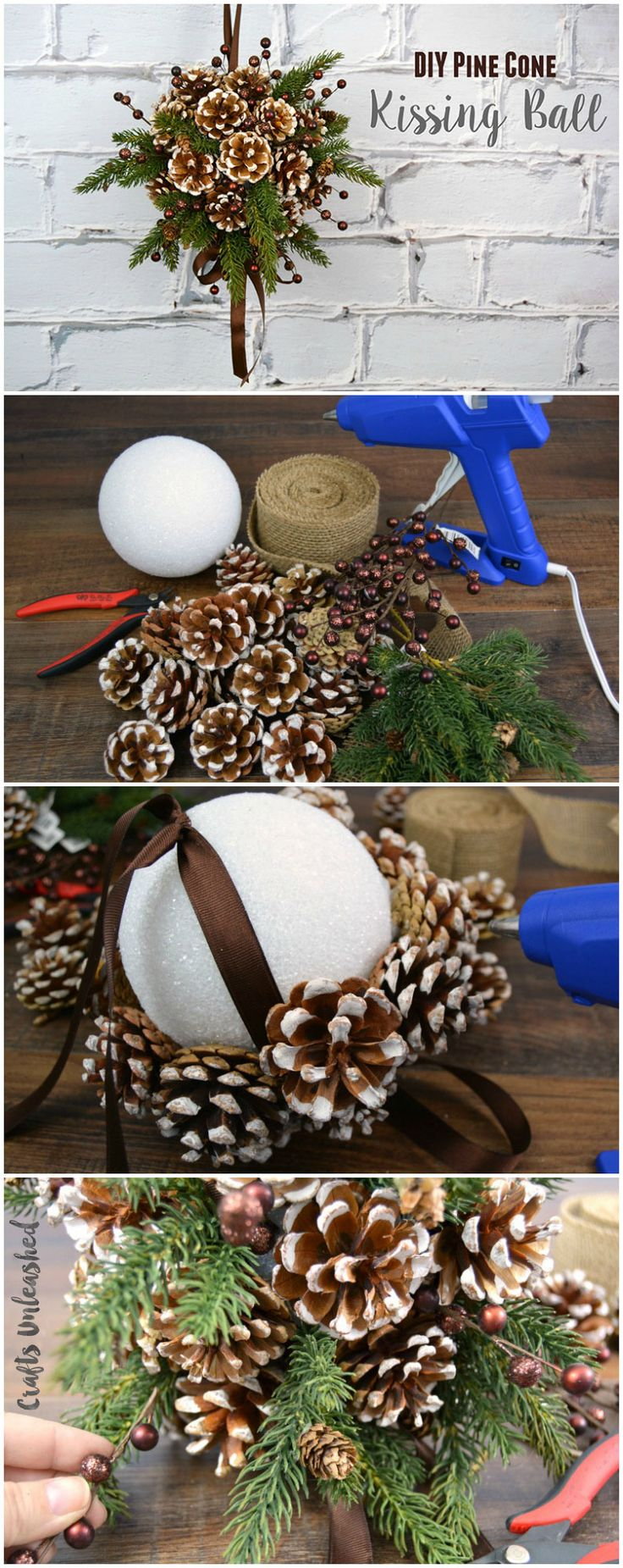 DIY Pine Cone Kissing Ball DIY Holiday Pine Cones Craft Ideas