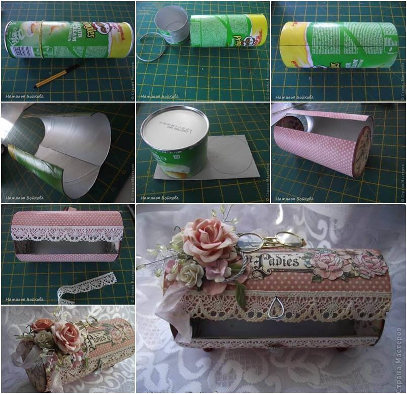 Pretty vintage box is made from an empty chips can Best out of Waste: DIY Creative Craft Ideas - Step by step