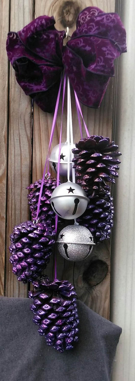 Purple Pine Cone Craft DIY Holiday Pine Cones Craft Ideas