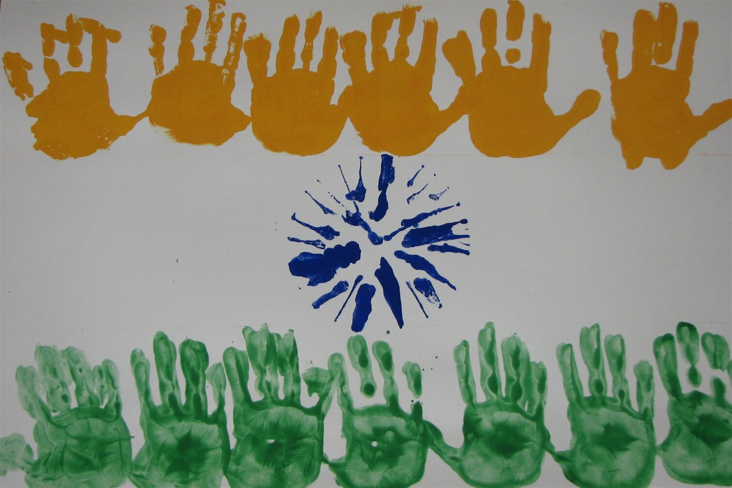 DIY Handprint India Flag Kids Craft DIY Craft Ideas for India Independence Day and Republic Day