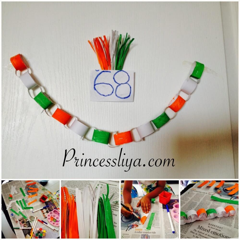 India's Republic Day or Independence Day wall decoration Tricolor chain