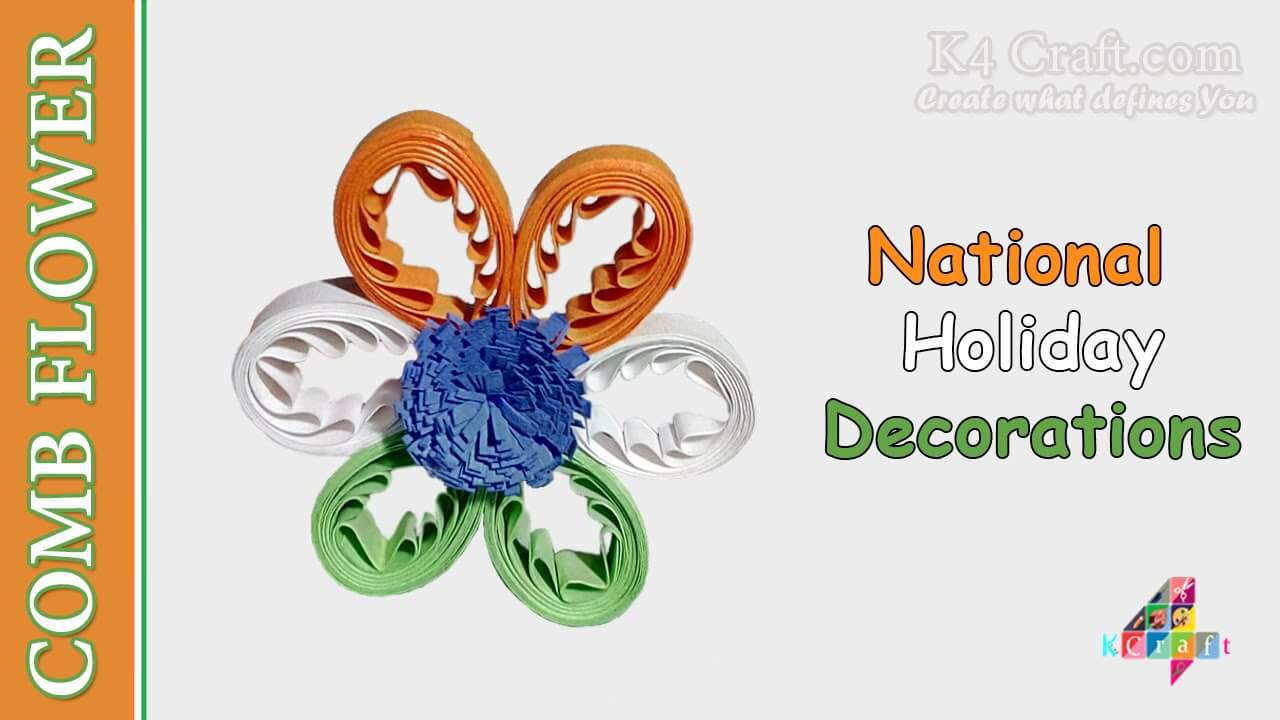 How to make Indian Tricolour Quilling Comb Flower DIY Craft Ideas for India Independence Day and Republic Day