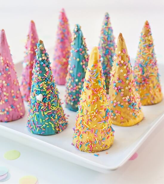 Sugar Cone Unicorn Horns Cool & Delicious Birthday Party Food Ideas for Kids