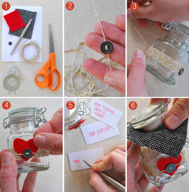 A jar of reasons why you love him Valentine's Day Handmade Cards and Gift Ideas - Step by step