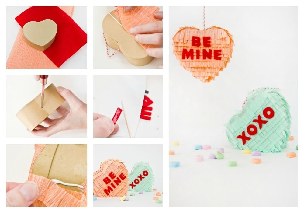 DIY Conversation Hearts Pinatas Valentine's Day Handmade Cards and Gift Ideas - Step by step