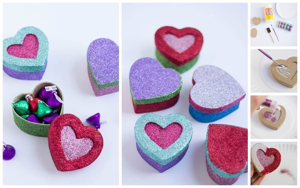 Glittered Heart Boxes Valentine's Day Handmade Cards and Gift Ideas - Step by step
