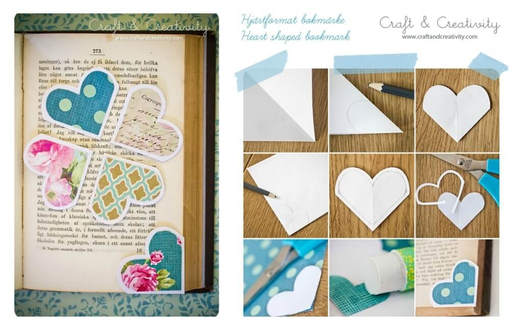 Heart Page Marker Valentine's Day Handmade Cards and Gift Ideas - Step by step