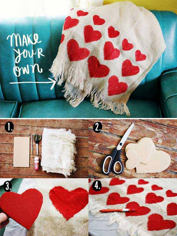 DIY Heart blanket Valentine's Day Handmade Cards and Gift Ideas - Step by step
