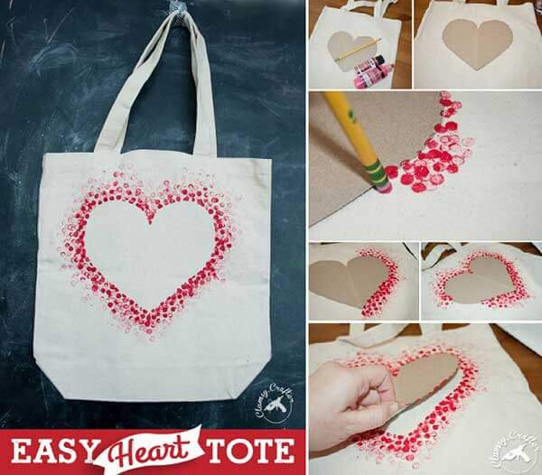 Easy Heart Tote Bag Valentine's Day Handmade Cards and Gift Ideas - Step by step