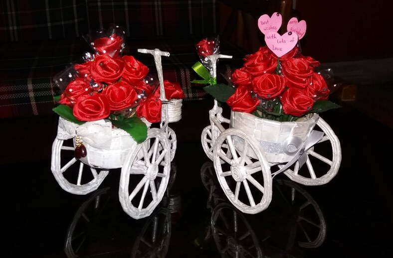 Sensational Tricycle Flower decorated Gift Ideas Valentine's Day Handmade Craft Ideas