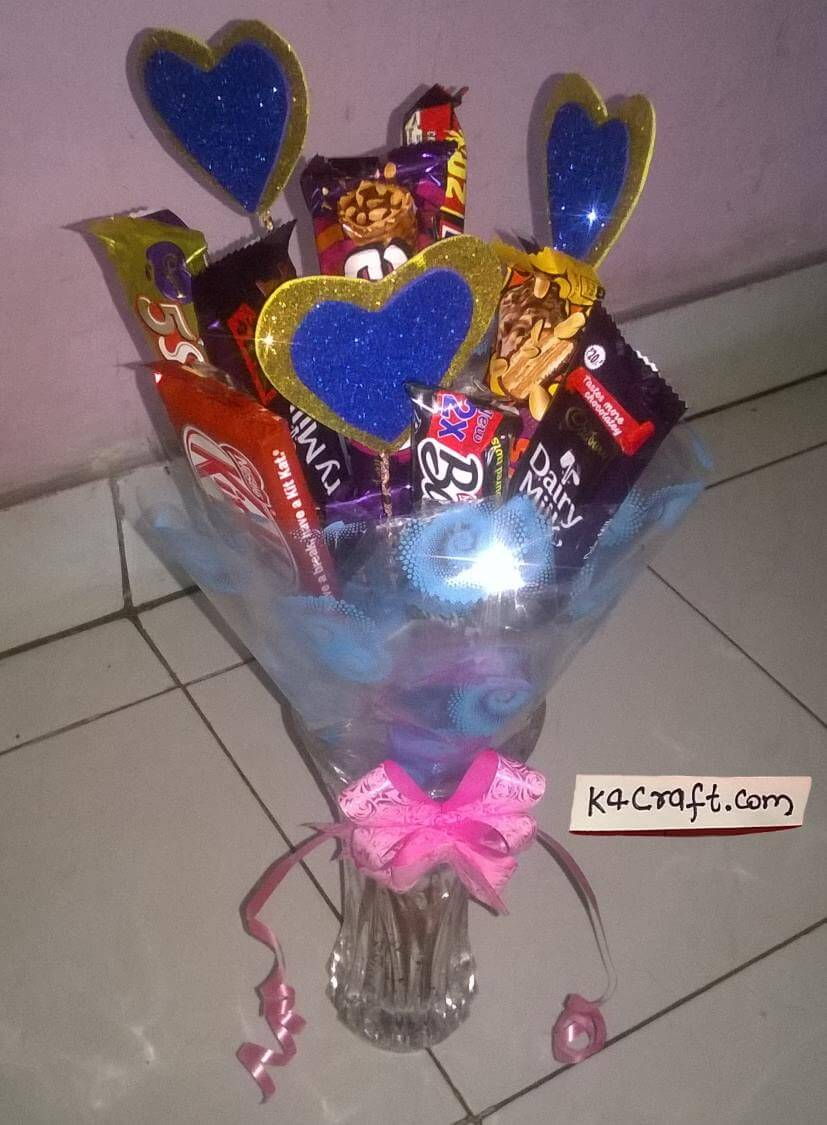Valentine Chocolate bouquet Valentine's Day Handmade Craft Ideas
