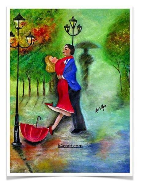 "Painting ""12x16"" Watercolor on canvas Valentine's Day Handmade Craft Ideas"