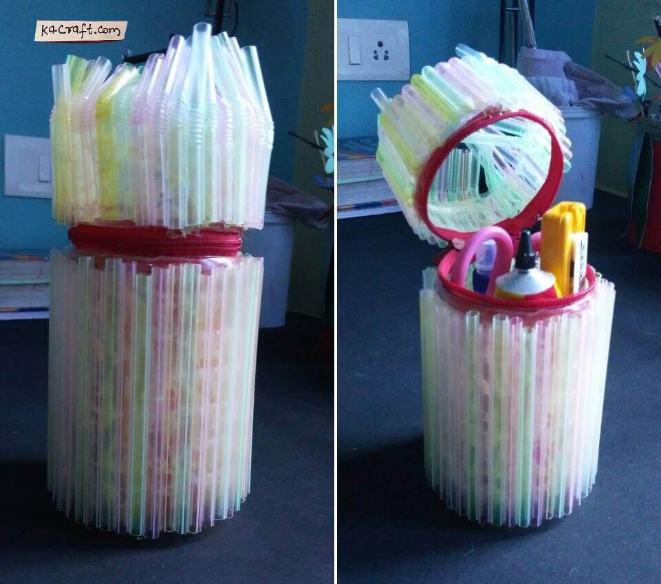 DIY Pencil holder with straws Valentine's Day Handmade Craft Ideas