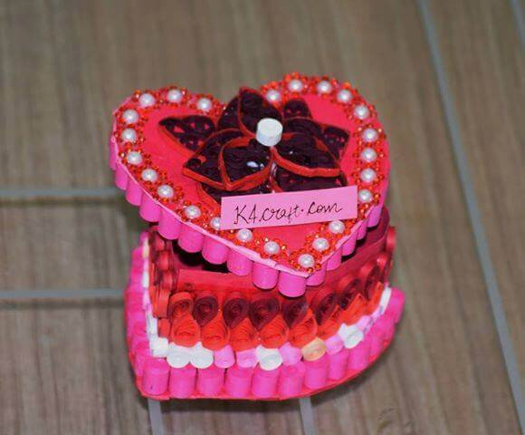Heart shape quilling box Valentine's Day Handmade Craft Ideas