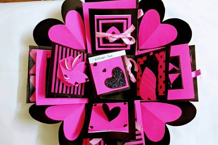 DIY Hear Exploding Box Valentine's Day Handmade Craft Ideas