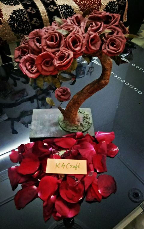 DIY Rose Flower Tree Gift Idea Valentine's Day Handmade Craft Ideas