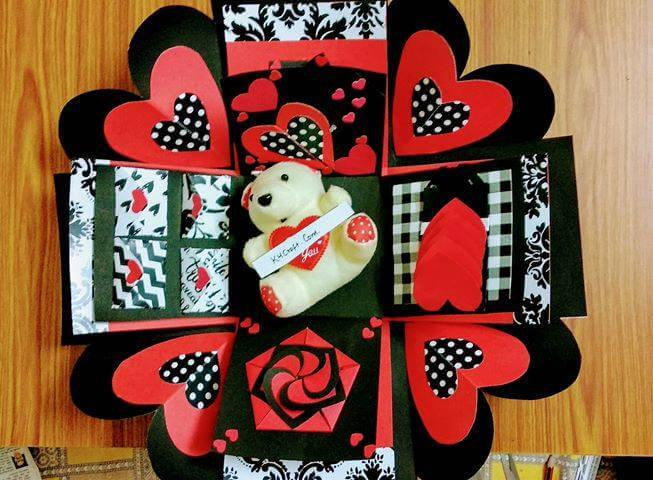 Exploding Box withTeddy Bear Valentine's Day Handmade Craft Ideas