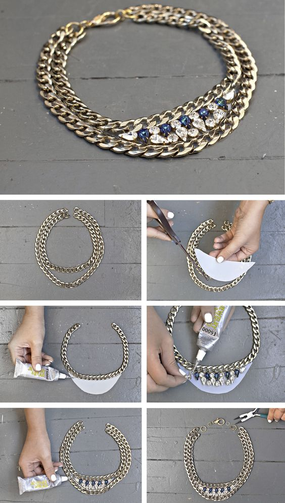 DIY Gem Chain Necklace DIY Accessories You'll Actually Want to Wear