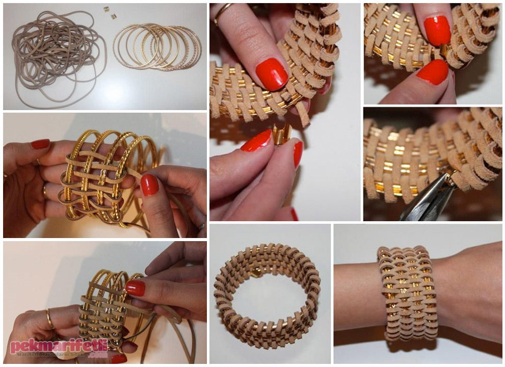 DIY Bangles Wrapped in Leather DIY Accessories You'll Actually Want to Wear