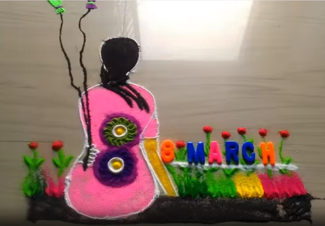 Women's Day Crafts Ideas for Rangoli making