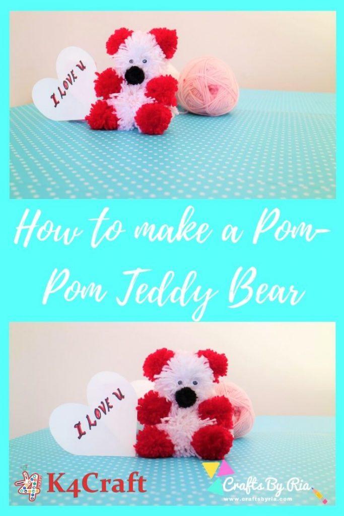 DIY Teddy Bear Craft : How to make a Pom Pom Teddy Bear