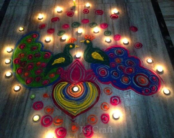 Beautiful Rangoli Designs And Patterns For 2020 Two peacock Rangoli design