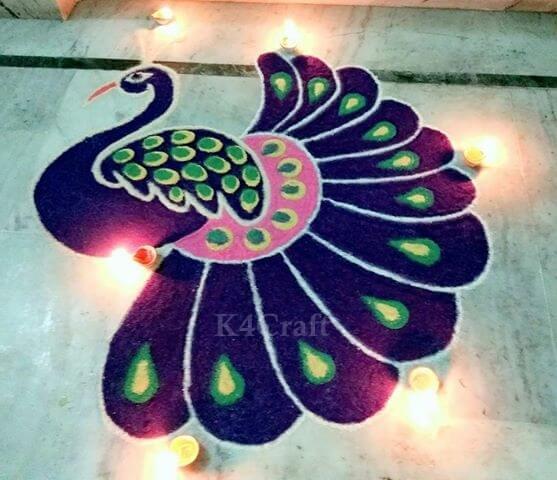 Grand Peacock Rangoli Design - Beautiful Rangoli Designs And Patterns For 2020