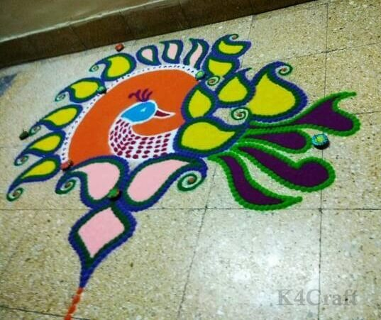 Beautiful peacock design - Beautiful Rangoli Designs And Patterns For 2020
