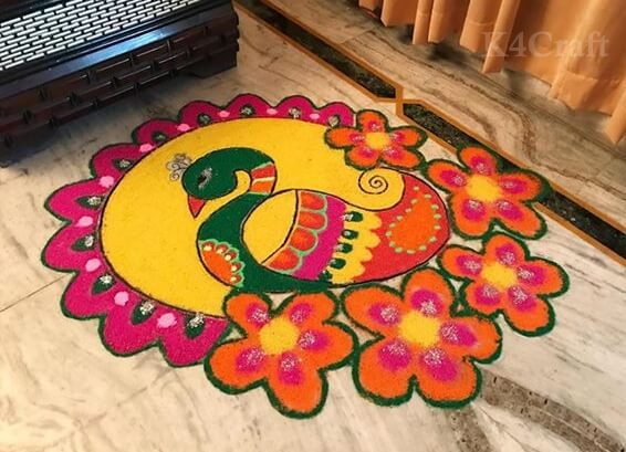 Beautiful and simple Peacock rangoli design And Patterns For 2020